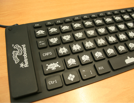 Teclado Bendiboard Retro Invaders Preto