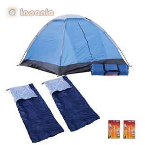 Kit Campismo (Tenda, Sacos-cama e Luzes LED)