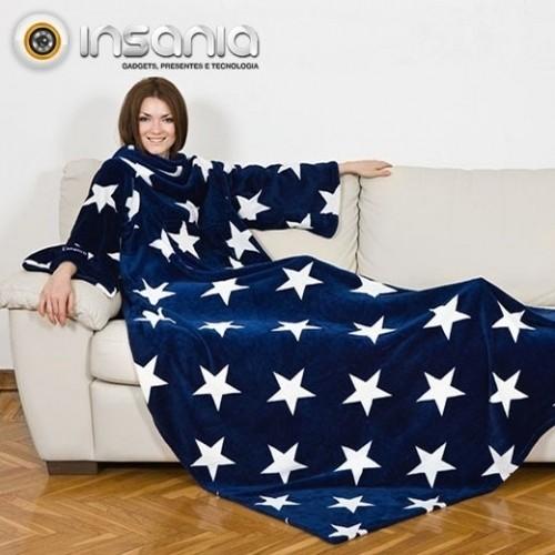 Manta com Mangas Kanguru Deluxe Azul Estrelas