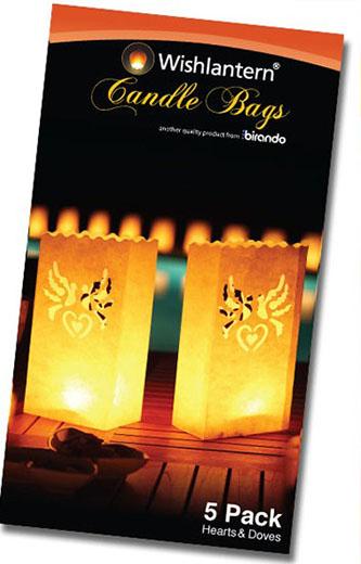 Sacos para Velas Pombas e Corações (Pack 5)