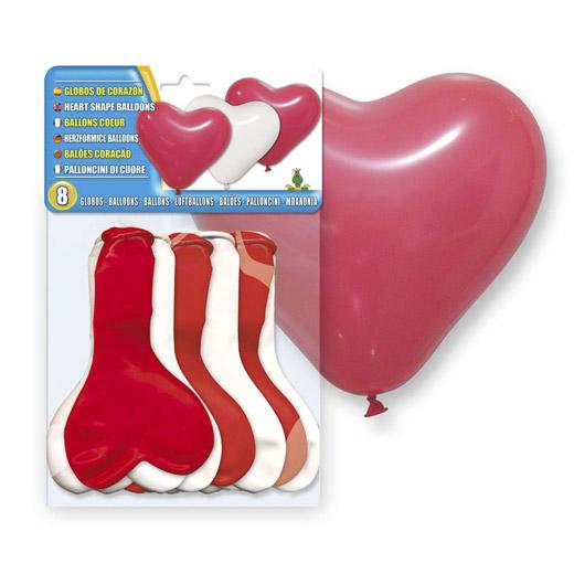Globos Blancos y Rojos Corazón (pack de 8)