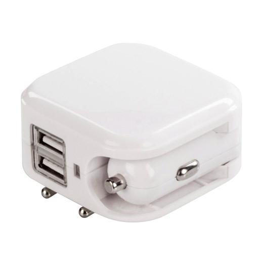 Carregador USB Duplo para Carro e Casa
