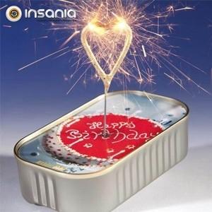 Bolo em Lata Sparkler Coração - Feliz Aniversário