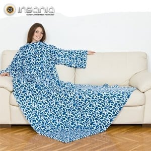 Manta con Mangas Kanguru Deluxe Azul Floral