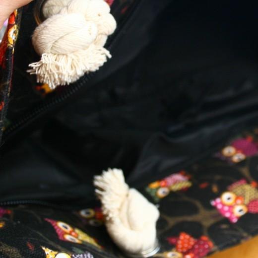 Bolso en tejido búhos