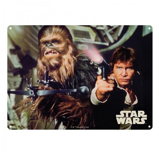 Placa Metálica Han Solo e Chewbacca Star Wars