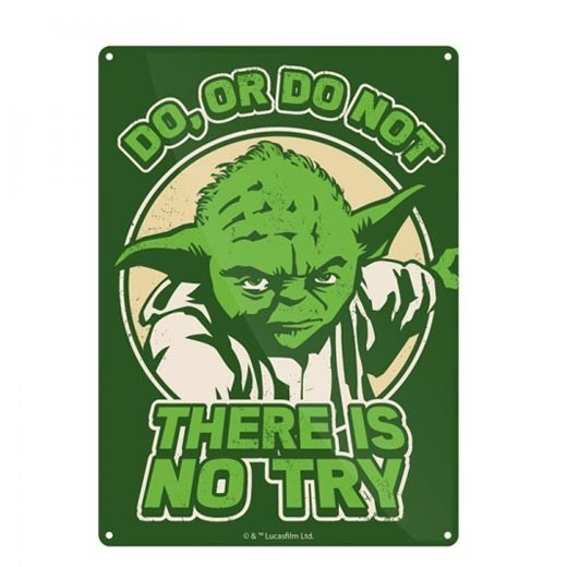 Placa Metálica Yoda Try Star Wars