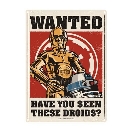 Placa Metálica Droids Star Wars