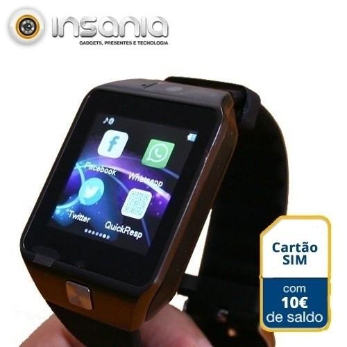 Smartwatch c/ Câmara e GSM Android e iOS c/ 10 euros em Saldo