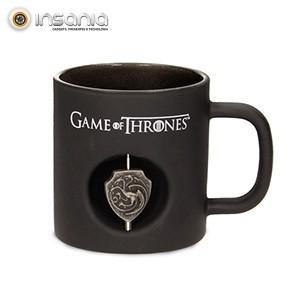Caneca Preta Targaryen Logo 3D Game of Thrones