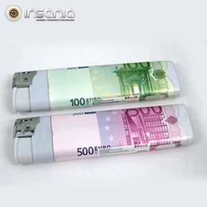 Isqueiro com Impressão Notas Euro Grande