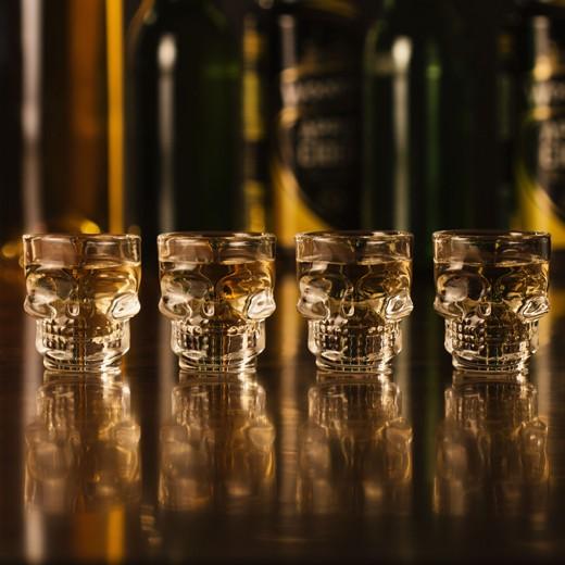 Conjunto de 4 Vasos de Chupito Calavera