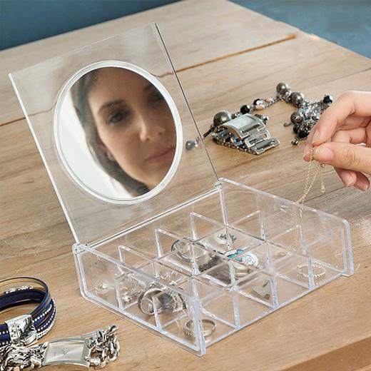 Guarda-jóias Transparente com Espelho
