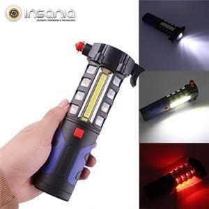 Lanterna LED 5 em 1 c/ Martelo de Segurança para Carro