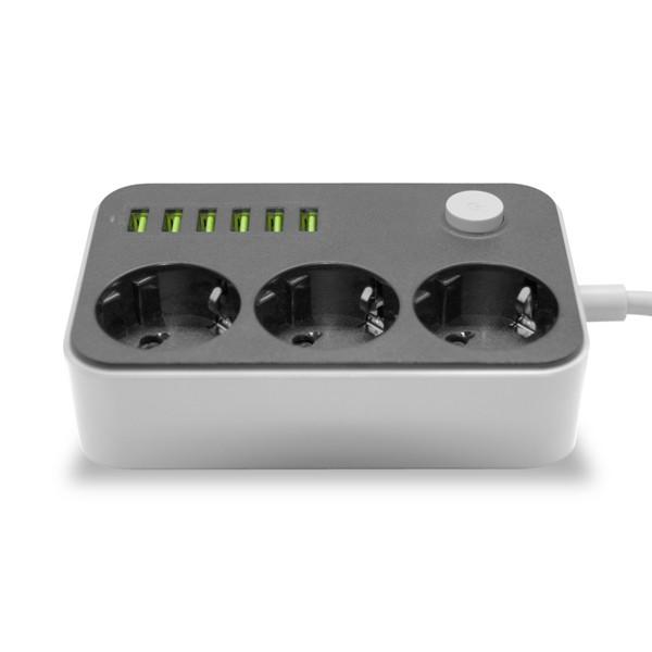 Extensão com 3 tomadas e 6 entradas USB