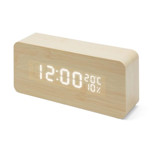 Relógio Despertador de Madeira