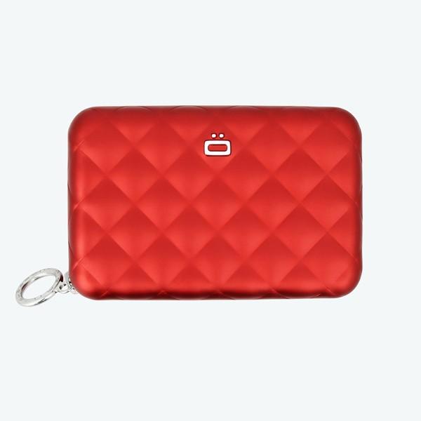 Carteira Porta-cartões Quilted Zipper Ögon Vermelha