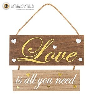 Placa de Madeira Letras Douradas Love