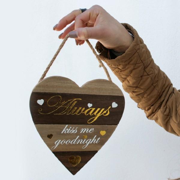 Plato de madera Always kiss me goodnight