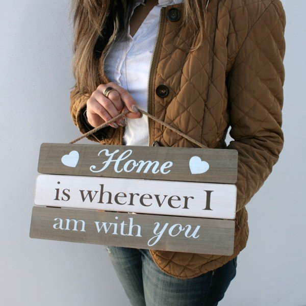 Placa de Madeira Home is wherever i am with you