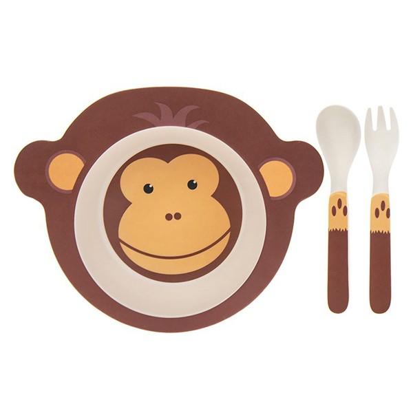 Conjunto de Refeição de Bambu Eco Macaco para Criança