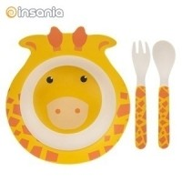 Conjunto de Refeição de Bambu Eco Girafa para Criança