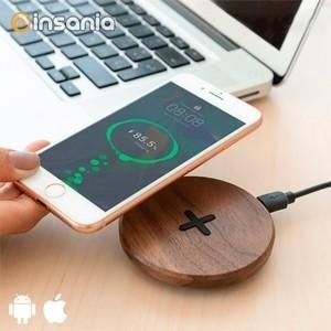 Carregador Wireless de Madeira Walnut